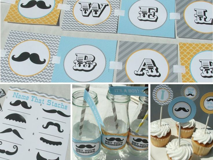 Mustache Baby Shower Decorations Package Boy Gray, Yellow, Aqua Blue  Vintage Printable