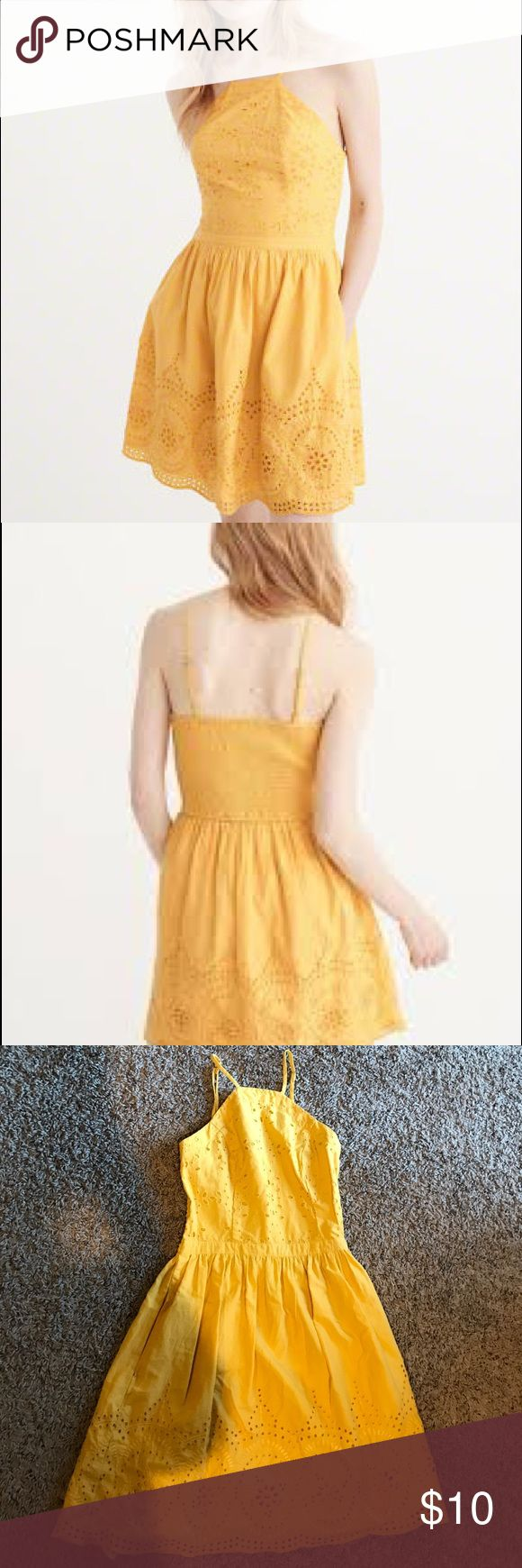 Abercrombie and Fitch eyelet skater dress Yellow eyelet dress. Adjustable straps. Has pockets. Worn once. Size XS Abercrombie & Fitch Dresses