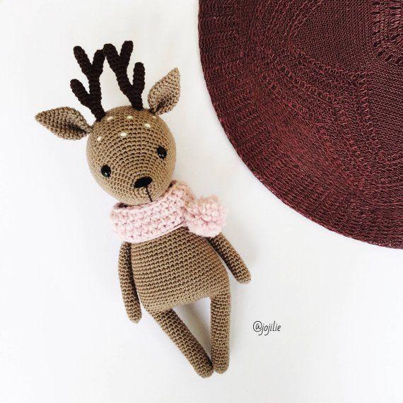Flora the Fawn Amigurumi crochet deer PATTERN ONLY PDF (English, Deutsch, Español, Français)