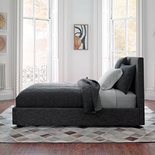 Contemporary Bed - Heathered Tweed   west elm