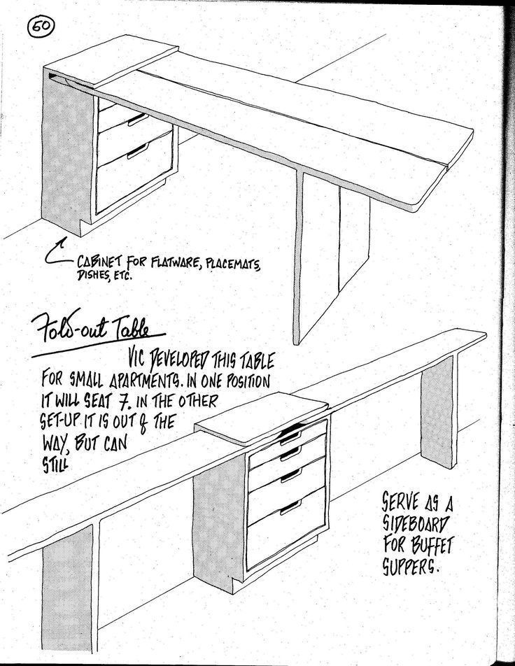 Tolle Idee für einen ausklappbaren Tisch, und Sie könnten STILLSTÄNDIG
