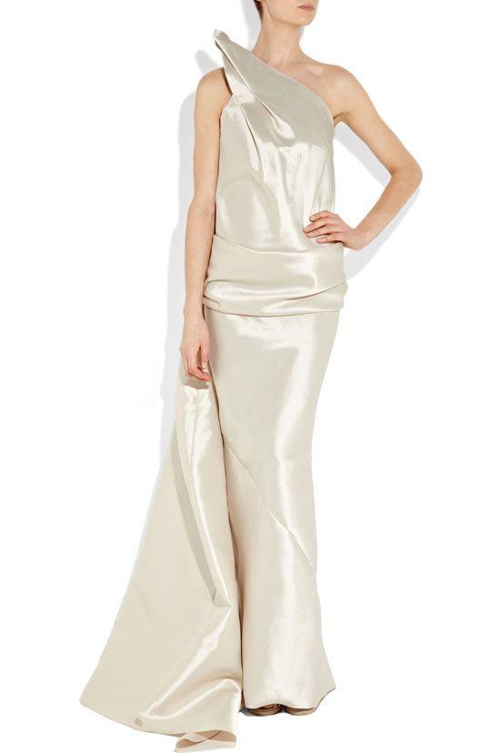 Strapless floor-length satin party dress