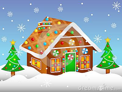 Vector Illustration Clipart Cartoon Gingerbread House.