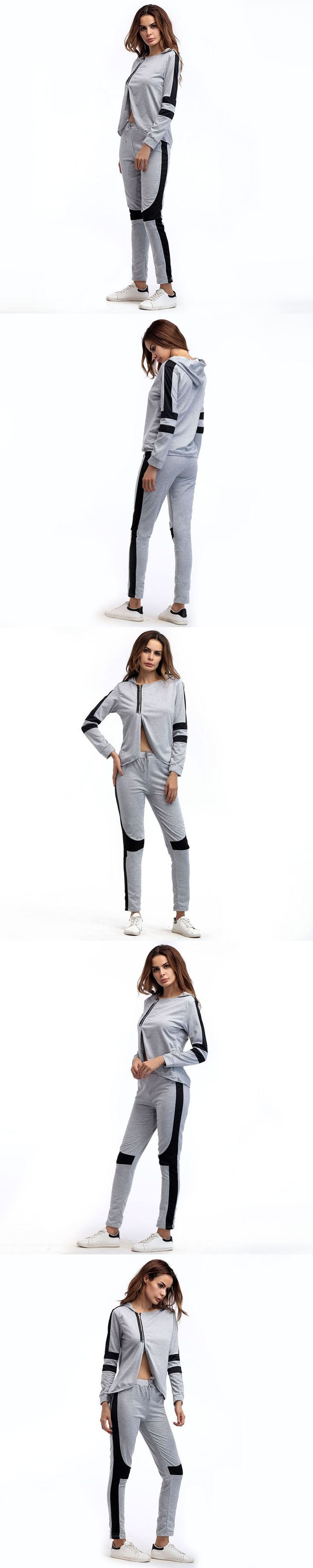 2017 Hot New Long-sleeved Ladies Hooded Autumn Sportswear Fashion Casual Suit Irregular Short Jacket Stripe Gray Large Size