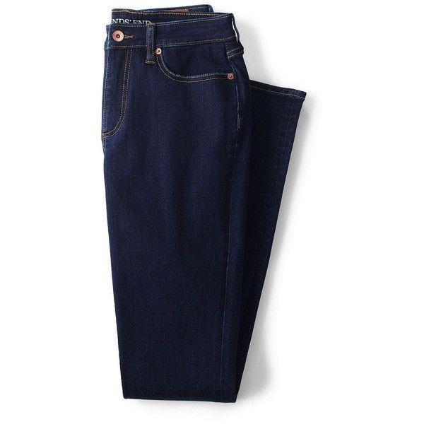 Lands' End Women's Petite Mid Rise Slim Leg Jeans ($69) ❤ liked on Polyvore featuring jeans, bottoms, pantalones, slim fit blue jeans, stretch blue jeans, slim jeans, petite jeans and mid-rise jeans