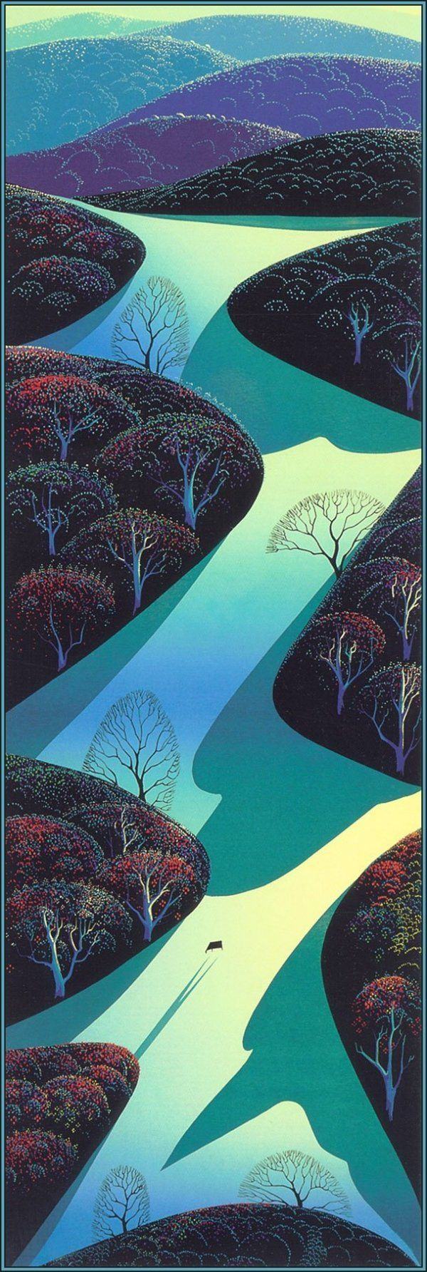 Eyvind Earle (April 26, 1916 – July 20, 2000) was an American artist, author and illustrator, noted for his contribution to the background illustration and styling of Disney animated films in the 1950s. The Metropolitan Museum of Art, New York, Rahr West Art Museum, Phoenix Art Museum and Arizona State University Art Museum have purchased Earle's works for their permanent collections. https://en.wikipedia.org/wiki/Eyvind_Earle#Illustration #Disney