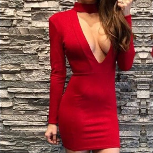 ‼LAST ONE!! Choker Dress So sexy!!! Low plunge, long sleeve, choker dress. Dresses Mini
