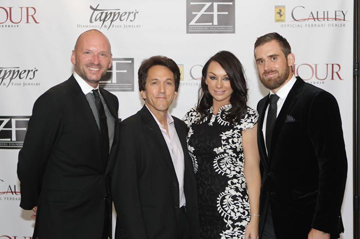 Henrik and Emma Zetterberg with Mitch Albom and Stephan Huber. — at Zetterberg Foundation Charity Event.