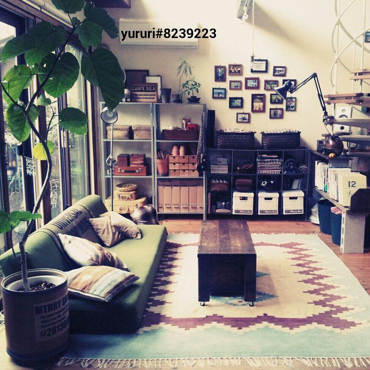 コンクリートブロックの棚/コンクリートブロック/ベルメゾンのソファカバー/ソファーベッド…などのインテリア実例 - 2014-07-07 13:11:00 | RoomClip(ルームクリップ)