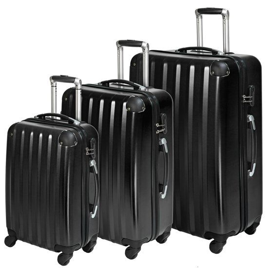 TecTake - Kofferset 3-delig zwart, hardshell, polycarbonaat 401445
