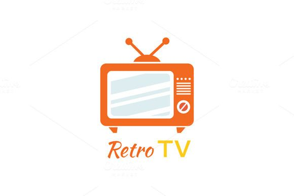 Retro Tv Logo Design Flat Icon by robuart on @creativemarket