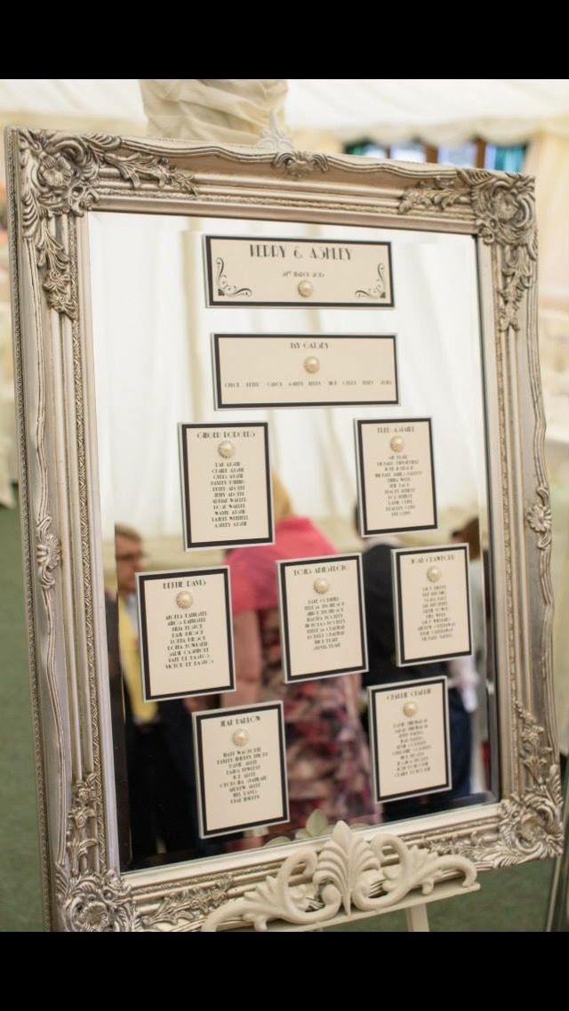 1920's mirrored table plan gatsby. Ornate frame