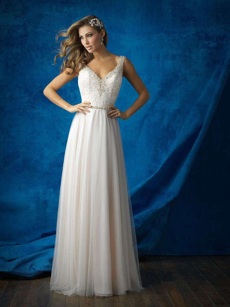 This A-line beauty is classic, with a dash of bohemian glamour // Allure Bridals 9373