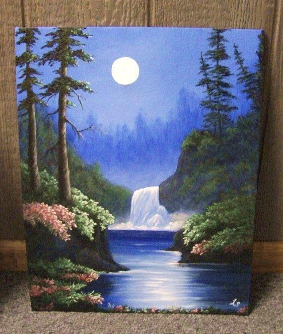 Waterfall In The Moonlight Lake Flowers Fantasy Woods Forest Night River Night Trees Landscape Oil Painting Pinturas Hermosas Pinturas Pintura Al Oleo Paisajes