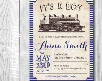 Vintage coche bebé ducha invitación  Muchacho bebé por irinisdesign