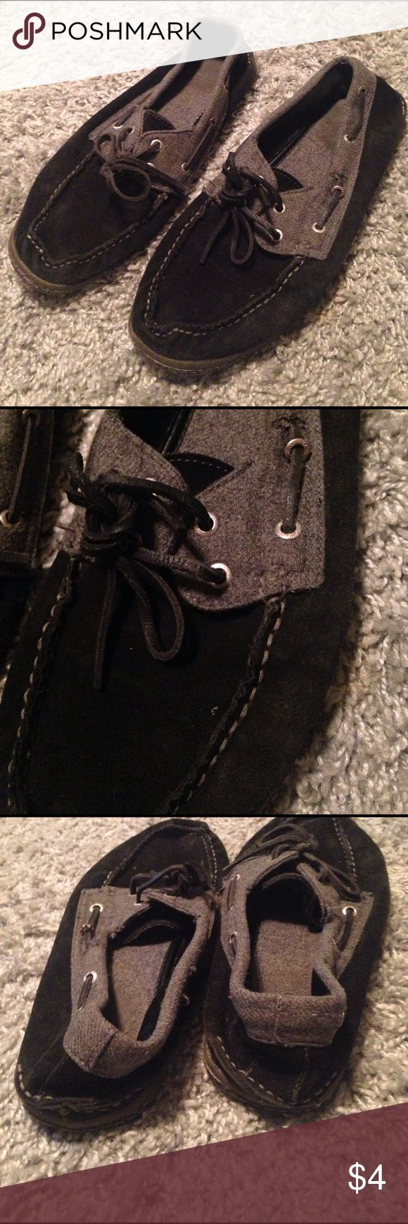 Men's Slip on Loafer Shoes ◼️ Men's Slip on Loafer Shoes. In fair condition. They are like Sperrys, but NOT Sperry brand. Black and gray suede. Size 10. Still have lights in them, but very worn, shows in the price. Check out my other listings for bundle deals! Shoes