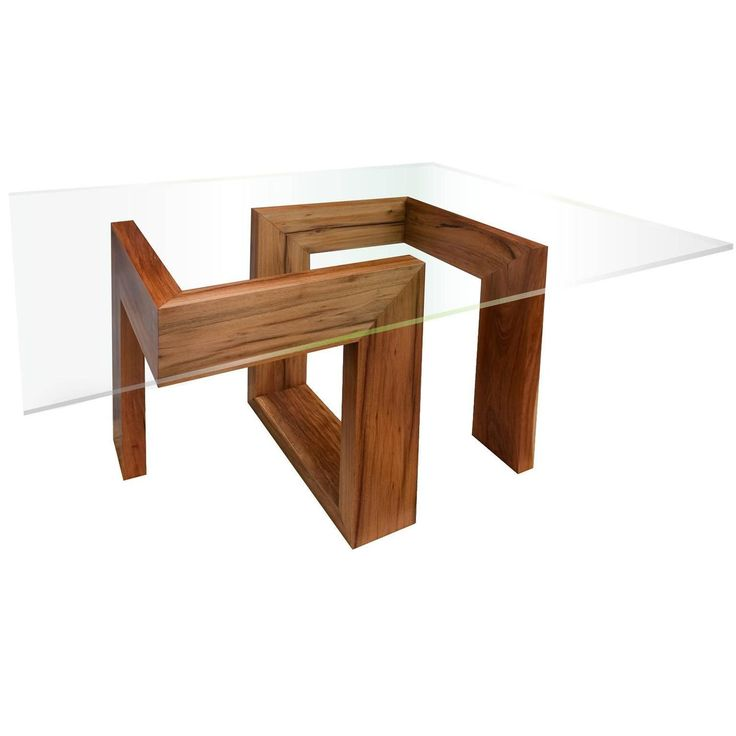 Modern 21st-Century solid timber table with glass top  | See more antique and modern Dining Room Tables at https://www.1stdibs.com/furniture/tables/dining-room-tables