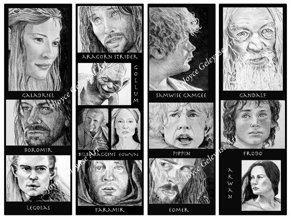 Printable Bookmarks, Lord of the Rings, LOTR Characters, Original Pencil Drawings, Tolkien, Portraits, Instant Download