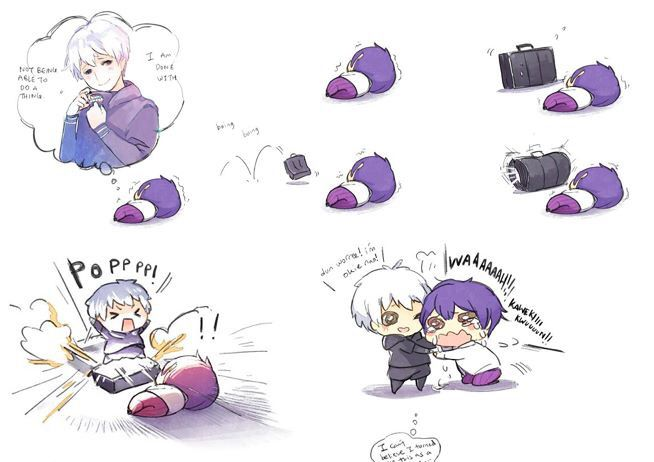 I normally don't like chibi stuff but this is pretty funny with those chubby lil Tsuki legs hahaha