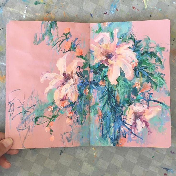 Sketchbook and flowers