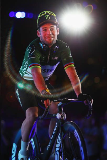 Mark Cavendish of Great Britain enters the stage on Day 4 of the London Six Day Race and the Lee Valley Velopark London on October 27 2017 in London...