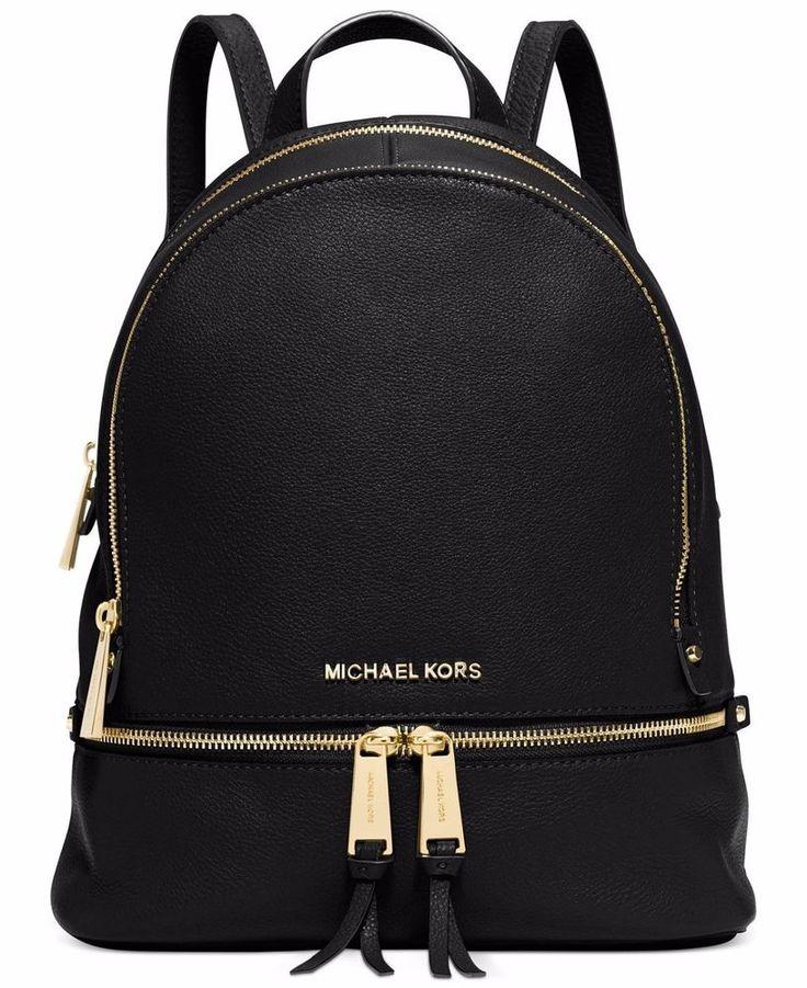 NWT Michael Kors Rhea Pebble Leather Medium Backpack Zip Bag $220 Black  Gold   Clothing,