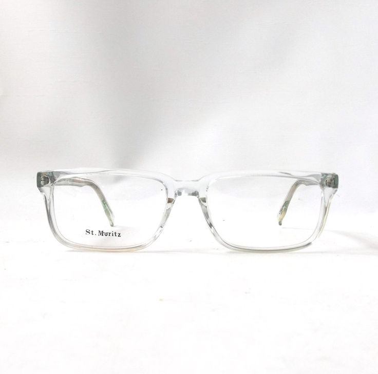 vintage 1980s nos eyeglasses square clear plastic frames crystal translucent prescription eyewear retro eye glasses usa new mens womens old
