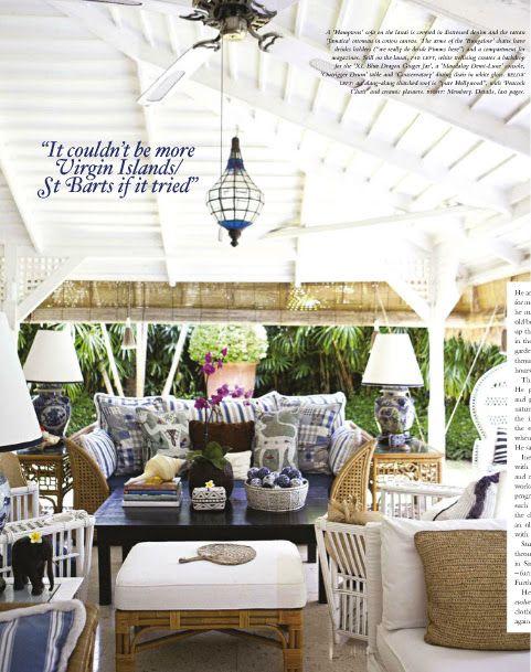 Stuart Membery's British Colonial porch. Via Vogue Living.
