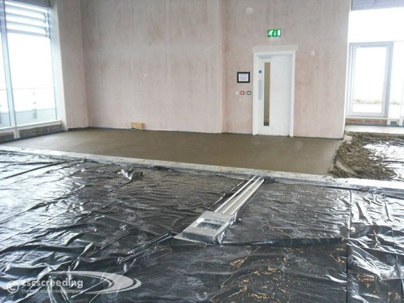 CSC Screeding floor screeding project at a live hotel site.