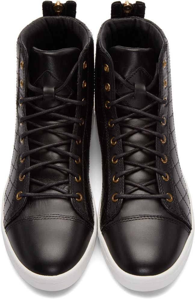 Diesel - Black Quilted High-Top Sneakers