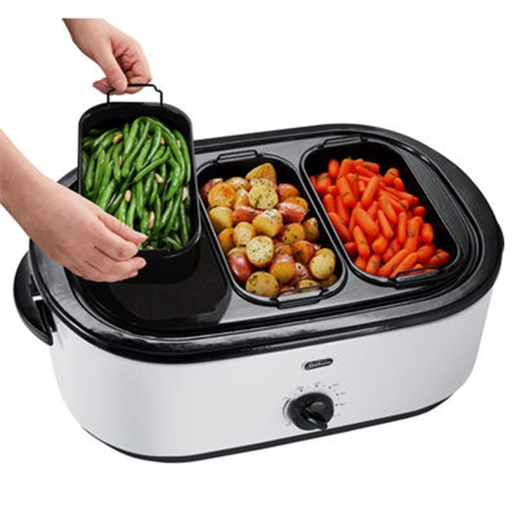 Slow cookers and electric roaster ovens are both great alternatives to a traditional range for cooking anything from soups to large cuts of meat.
