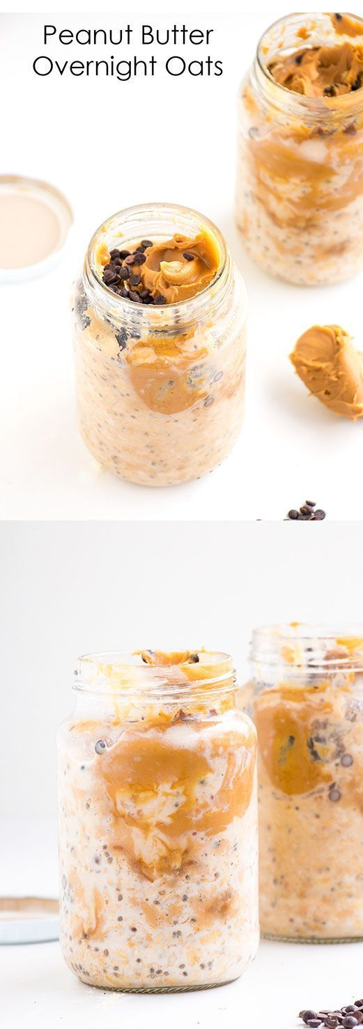 Peanut Butter Overnight Oats (oatmeal, peanut butter, chocolate chips, chia seeds, and almond milk)