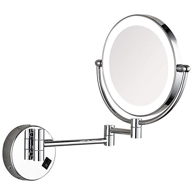 Gecious 10x Magnification Wall Mounted Lighted Vanity Mirror Led Lighted 8 Inches Double Sided Powered By Plug Chrome Finished Review Lighted Vanity Mirror Mirror Wall Mounted Makeup Vanity