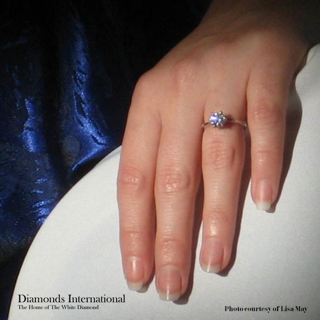 Lisa's Custom Engagement Ring from Diamonds International Shines Brilliantly.  #diamonds #diamondsinternational #love  #like #girl #hand #ring #engaged #engagement