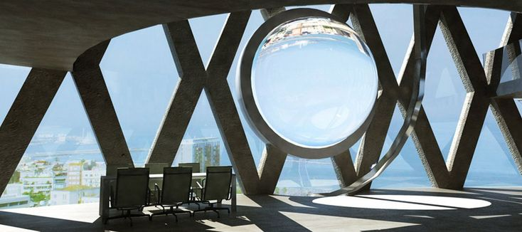 Cette énorme sphère n'est pas un effet architectural mais un capteur solaire. Le principe du Rawlemon repose sur une boule remplie d'eau qui va concentrer la lumière du Soleil en un point focal pour diriger le rayon vers des cellules photovoltaïques. Une technique susceptible de convertir environ 70 % d'énergie de plus qu'un panneau solaire classique. © Rawlemon