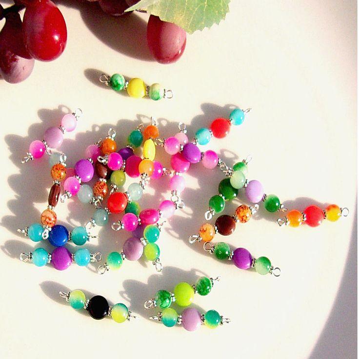 Connecteurs mixte perles glass acrylique multicolore
