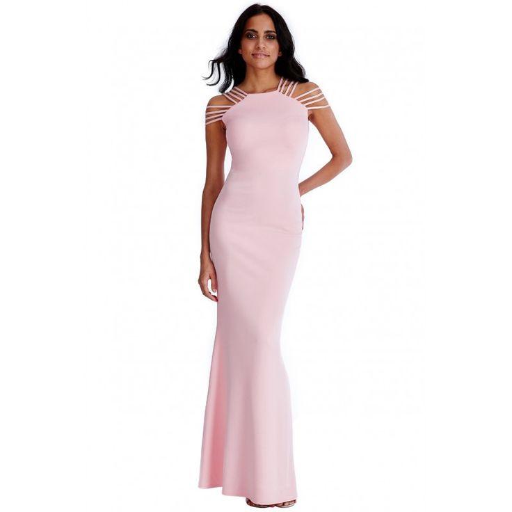 Długa #sukienka na #wesele multi ramiączka pastelowy #róż  https://stylovesukienki.pl/