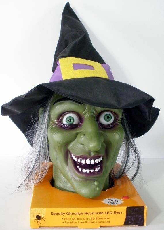 Spooky Ghoulish Talking Halloween Witch Head With Light Up Led Eyes -Watch Video #Halloween