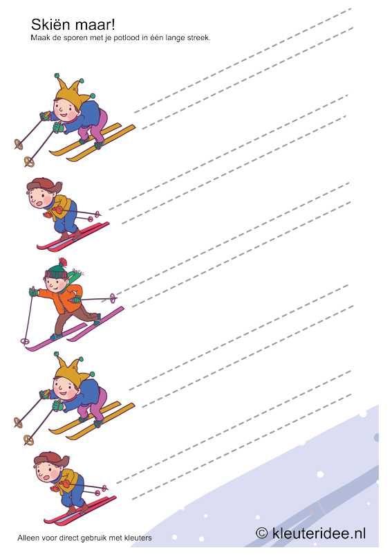 Skiën maar, schrijfpatroon voor kleuters, kleuteridee.nl , free printable.