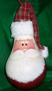 Lightbulb Santa - good use for burned-out lightbulbs.  Do it while you can - this style lightbulb will soon be out of circulation, and it doesn't work well with the new 'twisted' bulb design.