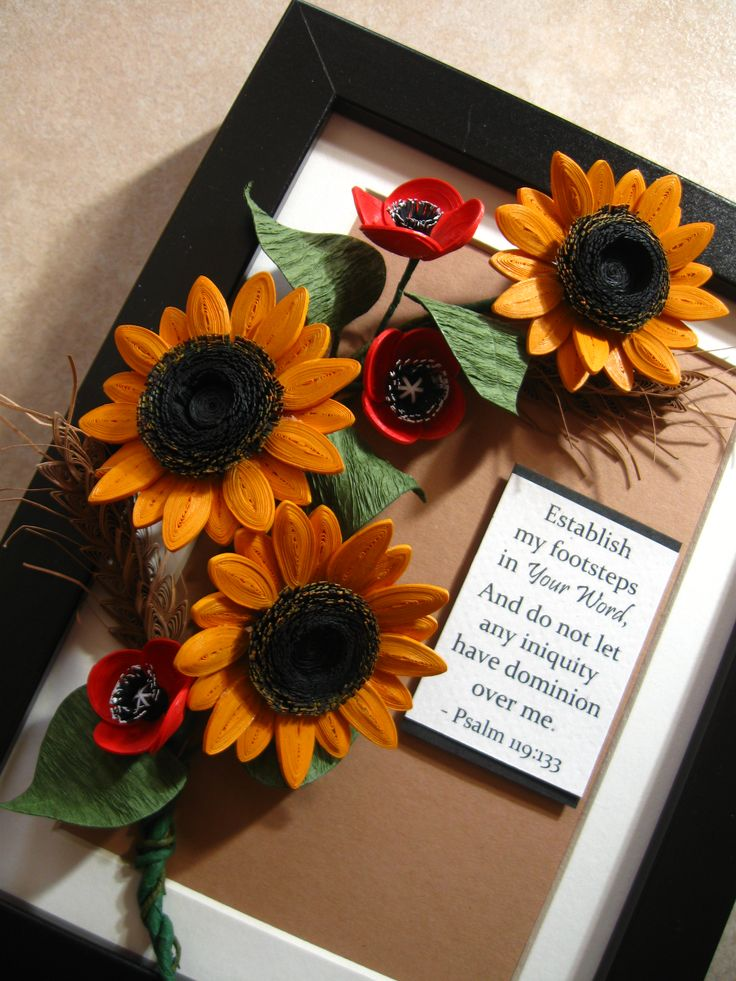 Quilled sunflowers, wheat and poppies (on a 15x20 cm frame)