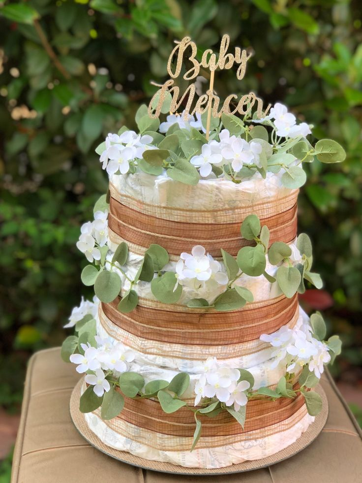 Bohemian diaper cake in 2020 diaper cakes girl baby