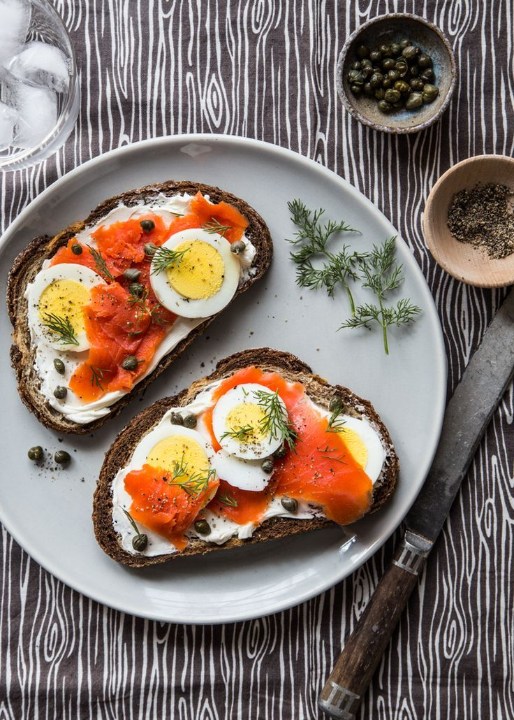 Smoked Salmon Toast with hard-boiled eggs and capers.