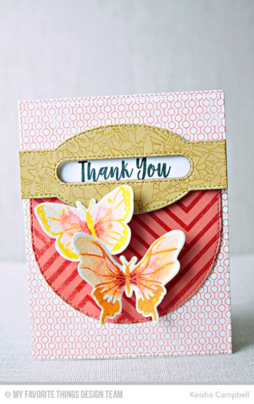 Beautiful Butterflies Stamp Set and Die-namics, You Give Me Butterflies Stamp Set, Diagonal Design Background, Lined up Dots Background, Bundles of Blossoms Background, Sentiment Label Strip Die-namics, Stitched Dome STAX Die-namics, Stitched Oval Word Windows Die-namics - Keisha Campbell  #mftstamps