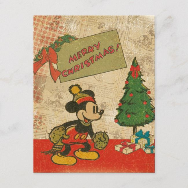 Disney Pin Christmas Card Seasons Greetings Mickey Mouse