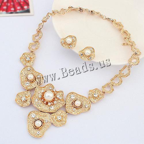Parures de bijoux en alliage zinc, boucle d'oreille & collier, alliage de zinc, avec perle de verre, avec 1.9Inch chaînes de rallonge, Plaqué de couleur d'or rose, avec strass, protéger l'environnement, sans nickel, plomb et cadmium, 63mm,18x21mm, Longueur:Environ 20.4 pouce, 10ensemblessérie/lot, Vendu par lot,perles bijoux en gros de Chine