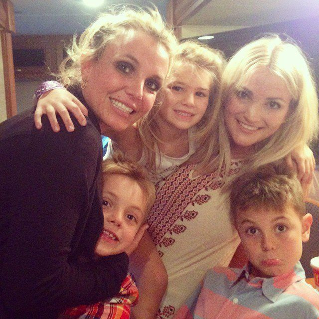 Pin for Later: Britney Spears's Sweet Family Snaps Will Make You Love Her Even More  The Spears sisters were surrounded by their children before Jamie Lynn performed at the LA County Fair in September 2014.