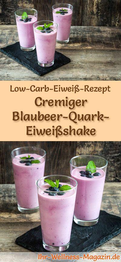 Blaubeer-Quark-Eiweißshake selber machen - ein gesundes Low-Carb-Diät-Rezept für Frühstücks-Smoothies und Proteinshakes zum Abnehmen - ohne Zusatz von Zucker, kalorienarm, gesund ... #eiweiß #eiweissshake #lowcarb #smoothie #abnehmen