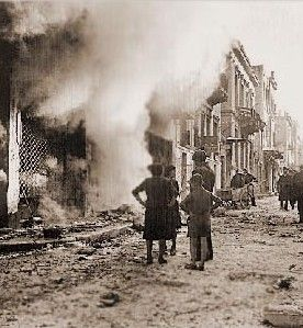 The aftermath of street fighting in Athens, December 1944.