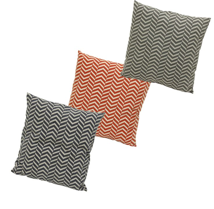 Square Cushions in shades of Charcoal, Orange and Navy